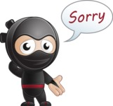 Cute Simple Style Ninja Cartoon Vector Character AKA Ami - Sorry