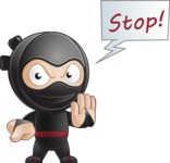 Cute Simple Style Ninja Cartoon Vector Character AKA Ami - Stop 1