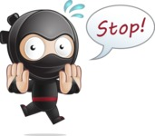Cute Simple Style Ninja Cartoon Vector Character AKA Ami - Stop 2