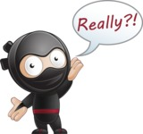 Cute Simple Style Ninja Cartoon Vector Character AKA Ami - Stunned