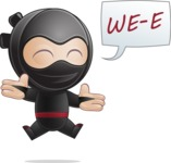 Cute Simple Style Ninja Cartoon Vector Character AKA Ami - Happy