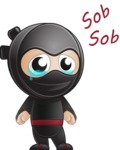 Cute Simple Style Ninja Cartoon Vector Character AKA Ami - Sad