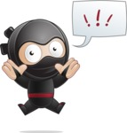 Cute Simple Style Ninja Cartoon Vector Character AKA Ami - Shocked