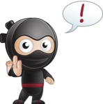 Cute Simple Style Ninja Cartoon Vector Character AKA Ami - Attention