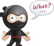 Cute Simple Style Ninja Cartoon Vector Character AKA Ami - Confused