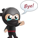 Cute Simple Style Ninja Cartoon Vector Character AKA Ami - GoodBye