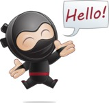 Cute Simple Style Ninja Cartoon Vector Character AKA Ami - Hello