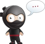 Cute Simple Style Ninja Cartoon Vector Character AKA Ami - Blank