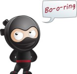 Cute Simple Style Ninja Cartoon Vector Character AKA Ami - Bored