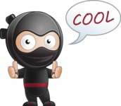 Cute Simple Style Ninja Cartoon Vector Character AKA Ami - Thumbs-Up