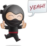 Cute Simple Style Ninja Cartoon Vector Character AKA Ami - Excited