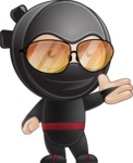 Cute Simple Style Ninja Cartoon Vector Character AKA Ami - Sunglasses 1