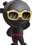 Cute Simple Style Ninja Cartoon Vector Character AKA Ami - Sunglasses 2