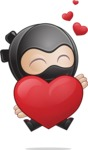 Cute Simple Style Ninja Cartoon Vector Character AKA Ami - Show Love