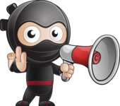 Cute Simple Style Ninja Cartoon Vector Character AKA Ami - Loudspeaker