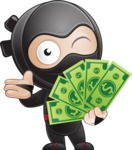 Cute Simple Style Ninja Cartoon Vector Character AKA Ami - Show me the Money