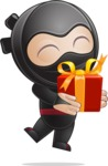 Cute Simple Style Ninja Cartoon Vector Character AKA Ami - Gift
