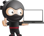 Cute Simple Style Ninja Cartoon Vector Character AKA Ami - Laptop