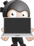 Cute Simple Style Ninja Cartoon Vector Character AKA Ami - Laptop 2