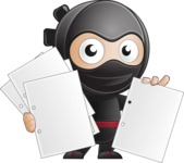 Cute Simple Style Ninja Cartoon Vector Character AKA Ami - Note 3