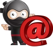 Cute Simple Style Ninja Cartoon Vector Character AKA Ami - Web