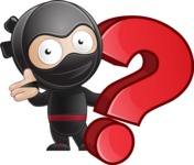 Cute Simple Style Ninja Cartoon Vector Character AKA Ami - Question