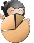 Cute Simple Style Ninja Cartoon Vector Character AKA Ami - Chart