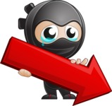 Cute Simple Style Ninja Cartoon Vector Character AKA Ami - Pointer 1