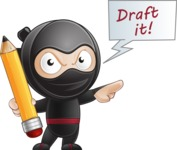 Cute Simple Style Ninja Cartoon Vector Character AKA Ami - Draft