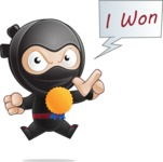 Cute Simple Style Ninja Cartoon Vector Character AKA Ami - Winner 1