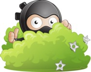 Cute Simple Style Ninja Cartoon Vector Character AKA Ami - Sneak Attack
