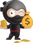 Cute Simple Style Ninja Cartoon Vector Character AKA Ami - Profit