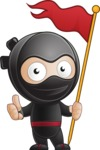 Cute Simple Style Ninja Cartoon Vector Character AKA Ami - On the Top