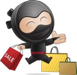 Cute Simple Style Ninja Cartoon Vector Character AKA Ami - Sale
