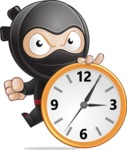 Cute Simple Style Ninja Cartoon Vector Character AKA Ami - Time is yours