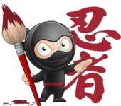 Cute Simple Style Ninja Cartoon Vector Character AKA Ami - Creativity