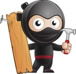 Cute Simple Style Ninja Cartoon Vector Character AKA Ami - Repair