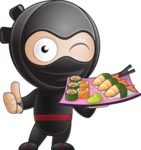 Cute Simple Style Ninja Cartoon Vector Character AKA Ami - Sushi