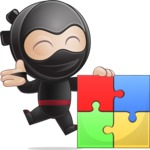 Cute Simple Style Ninja Cartoon Vector Character AKA Ami - Puzzle