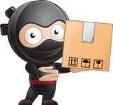 Cute Simple Style Ninja Cartoon Vector Character AKA Ami - Delivery 1