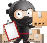 Cute Simple Style Ninja Cartoon Vector Character AKA Ami - Delivery 2