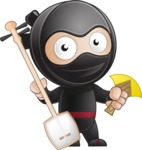 Cute Simple Style Ninja Cartoon Vector Character AKA Ami - Music