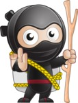 Cute Simple Style Ninja Cartoon Vector Character AKA Ami - Travel