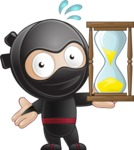 Cute Simple Style Ninja Cartoon Vector Character AKA Ami - Time is Up