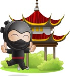 Cute Simple Style Ninja Cartoon Vector Character AKA Ami - Temple
