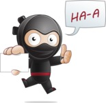 Cute Simple Style Ninja Cartoon Vector Character AKA Ami - Sign 1