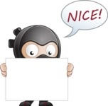 Cute Simple Style Ninja Cartoon Vector Character AKA Ami - Sign 2