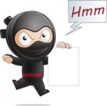 Cute Simple Style Ninja Cartoon Vector Character AKA Ami - Sign 3