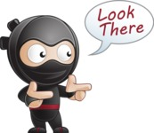 Cute Simple Style Ninja Cartoon Vector Character AKA Ami - Point 1