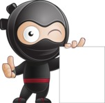 Cute Simple Style Ninja Cartoon Vector Character AKA Ami - Sign 5